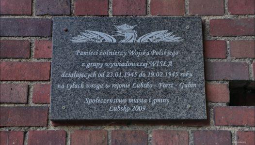 Lubsko, pamięci żołnierzy Wojska Polskiego z grupy wywiadowczej WISŁA działających na tyłach wroga w rejonie Lubsko – Forst – Gubin