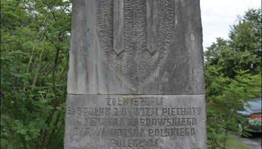 Grabów nad Pilicą. Pomnik upamiętniający poległych w sierpniu i wrześniu 1944 roku podczas walk o rozszerzenie przyczółka warecko-magnuszewskiego i opanowanej szosy Warka-Radom.