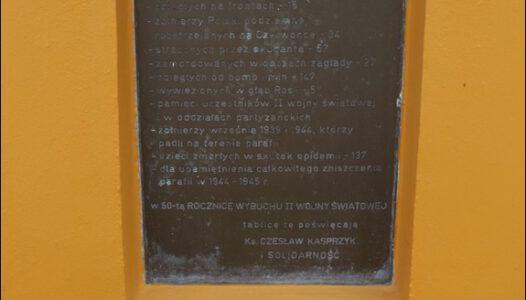 Grabów nad Pilicą, Kościelna 1, Pamięci ofiar II Wojny Światowej w parafii Grabów