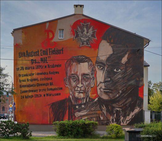 """Żyrardów, mural, Generał August Emil Fieldorf """"NIL"""""""