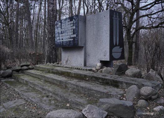 Pomnik w lesie Dąbrówka. Pamięci Polaków rozstrzelanych przez Wehrmacht we wrześniu 1939 r. społeczeństwo m. Zgierza