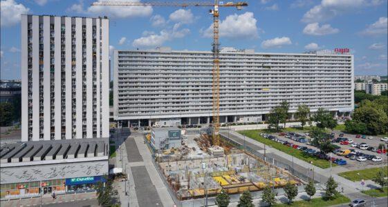 Katowice, panorama Alei Wojciecha Korfantego, budowa Hotelu Puro