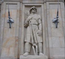 Warszawa, MDM Marszałkowska Dzielnica Mieszkaniowa, socrealistyczne rzeźby